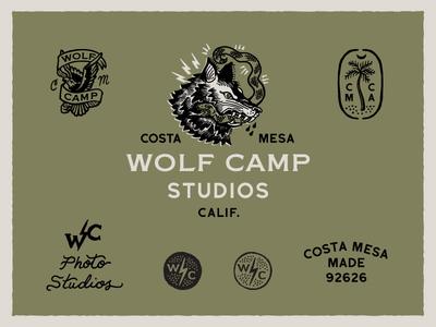 Wolfcamp Studios Logo System flash tattoo logo identity system system seal palm tree snake eagle wolf