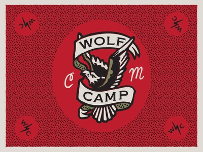 Wolf Camp Studios motif stippling hoodzpah flash tattoo banner eagle