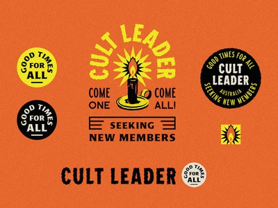 Cult Leader Secondary Marks seal identity system logo retro horror occult cult light candle fire flame