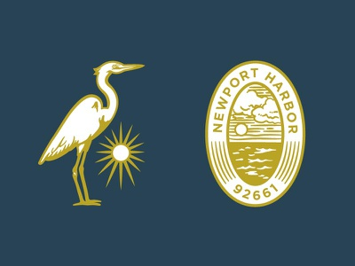 Louie's Secondary Marks harbor ocean sun icon seal newport beach egret bird