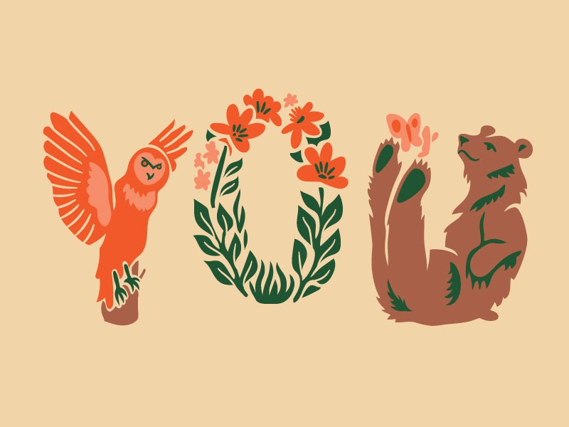 Woodland Creatures Card hoodzpah forest owl lettering leaves flower bear