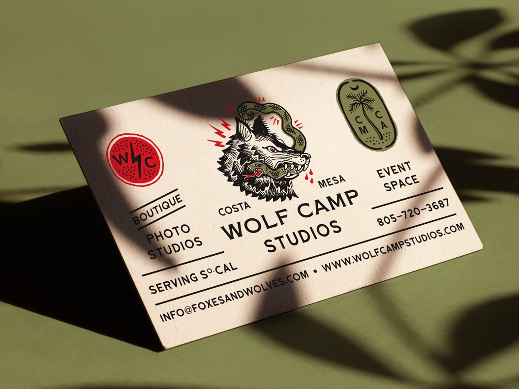Wolf Camp Studios Business Card tattoo palm tree snake wolf business card