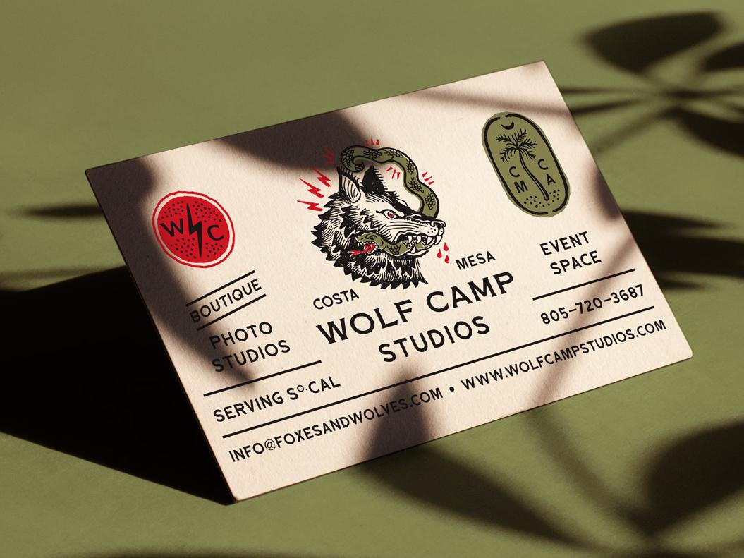 Wolf camp studios business card front hoodzpah 2