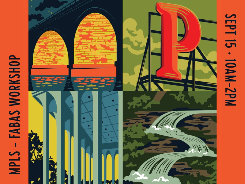 Minneapolis Freelancing Workshop lettering freelancing hoodzpah illustration architecture stream river signage bridge minneapolis