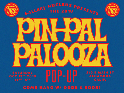 Pin Pal Palooza 2018 poster typography font lettering psychadelic hoodzpah beale retro