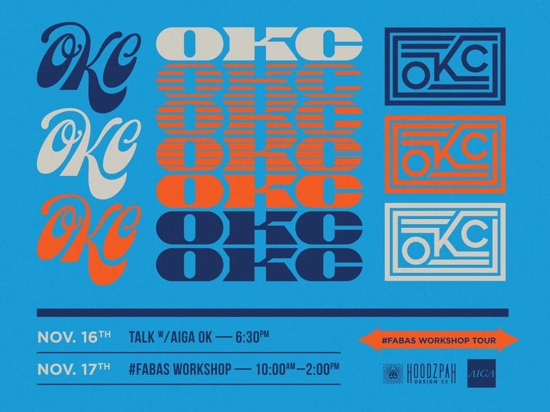 OKC - Freelancing Workshop! 80s retro script typography lettering oklahoma city hoodzpah event workshop