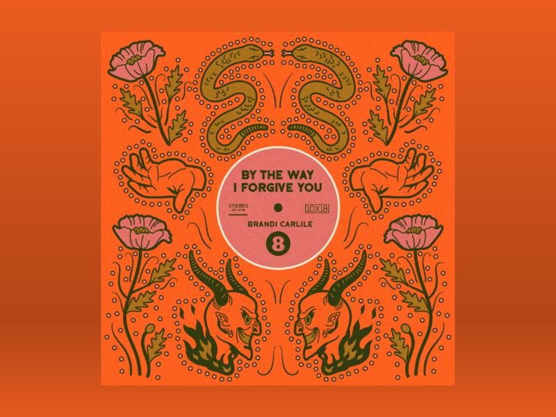 10x18: #8 Brandi Carlile - By The Way, I Forgive You 10x18 record satan devil hand snake cowboy rhinestones nudie suit western country americana album