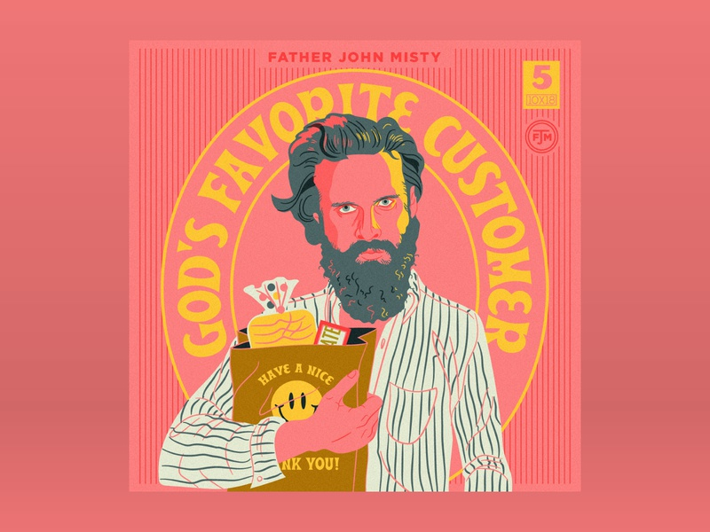 10x18: #5 Father John Misty - God's Favorite Customer 10x18 bag grocery illustration portrait hoodzpah beale retro album