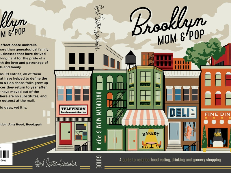 """Brooklyn Mom & Pop"" Cover Art Detail shop store front guide book cover cover art script palm canyon drive brooklyn ny nyc street city illustration"