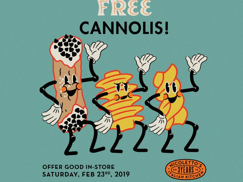 Nicolettos 3yr Anniversary Dancing Noodles vintage retro comic caricature dancing cannoli hoodzpah pasta
