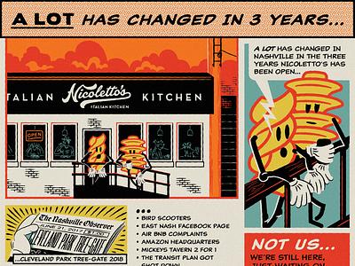 Nicolettos 3yr Anniversary Comic Strip caricatures comic strip gritty vintage retro hoodzpah caricature noodle pasta comic
