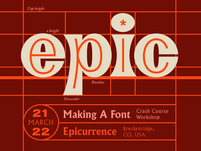 Epicurrence Lettering and Promo retro glyphs font lettering typography