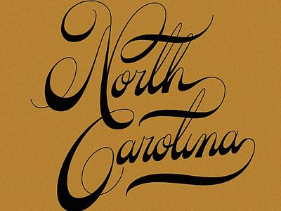 North Carolina Custom Lettering ornate swash north carolina cursive script lettering