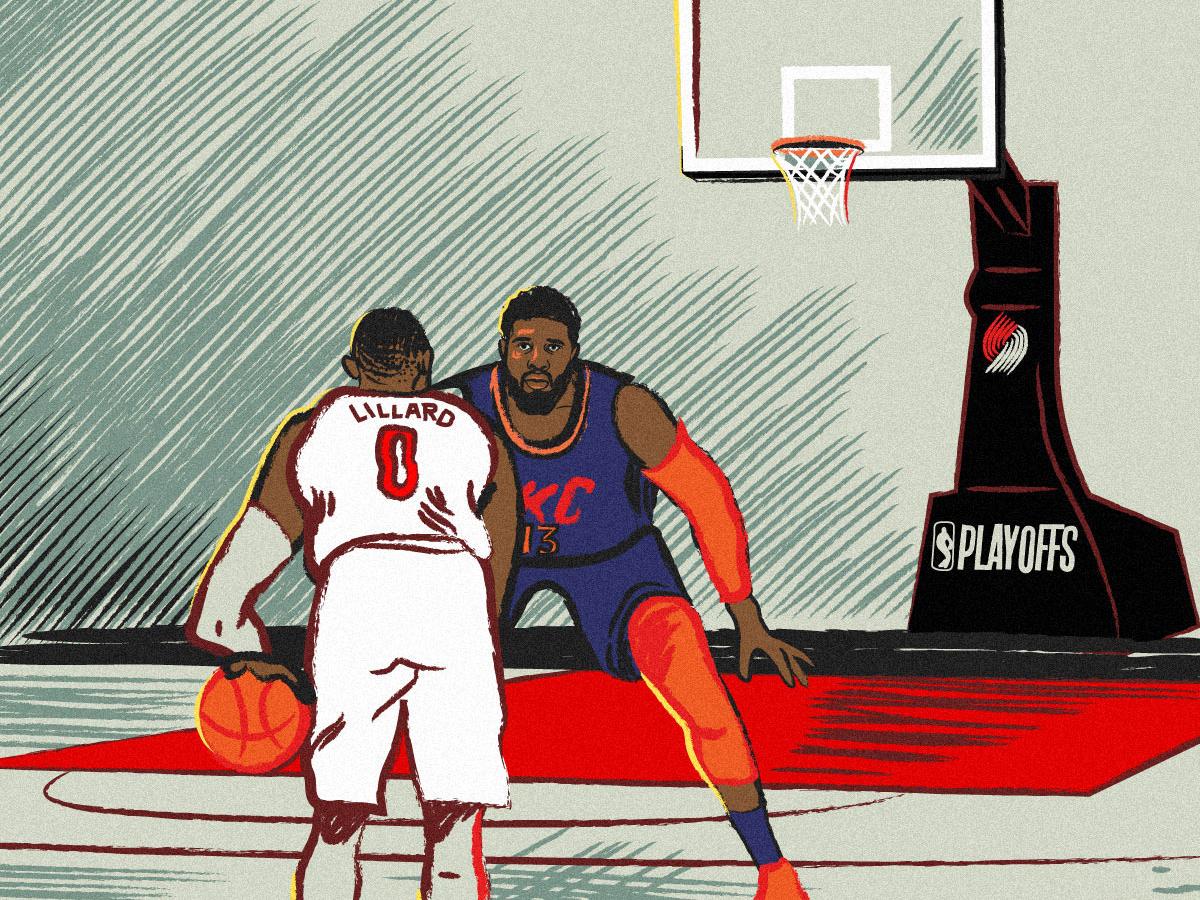 Damian Lillard NBA Playoffs Buzzer Beater trailblazers thunder paul george damian lillard basketball court okc illustration sports basketball nba