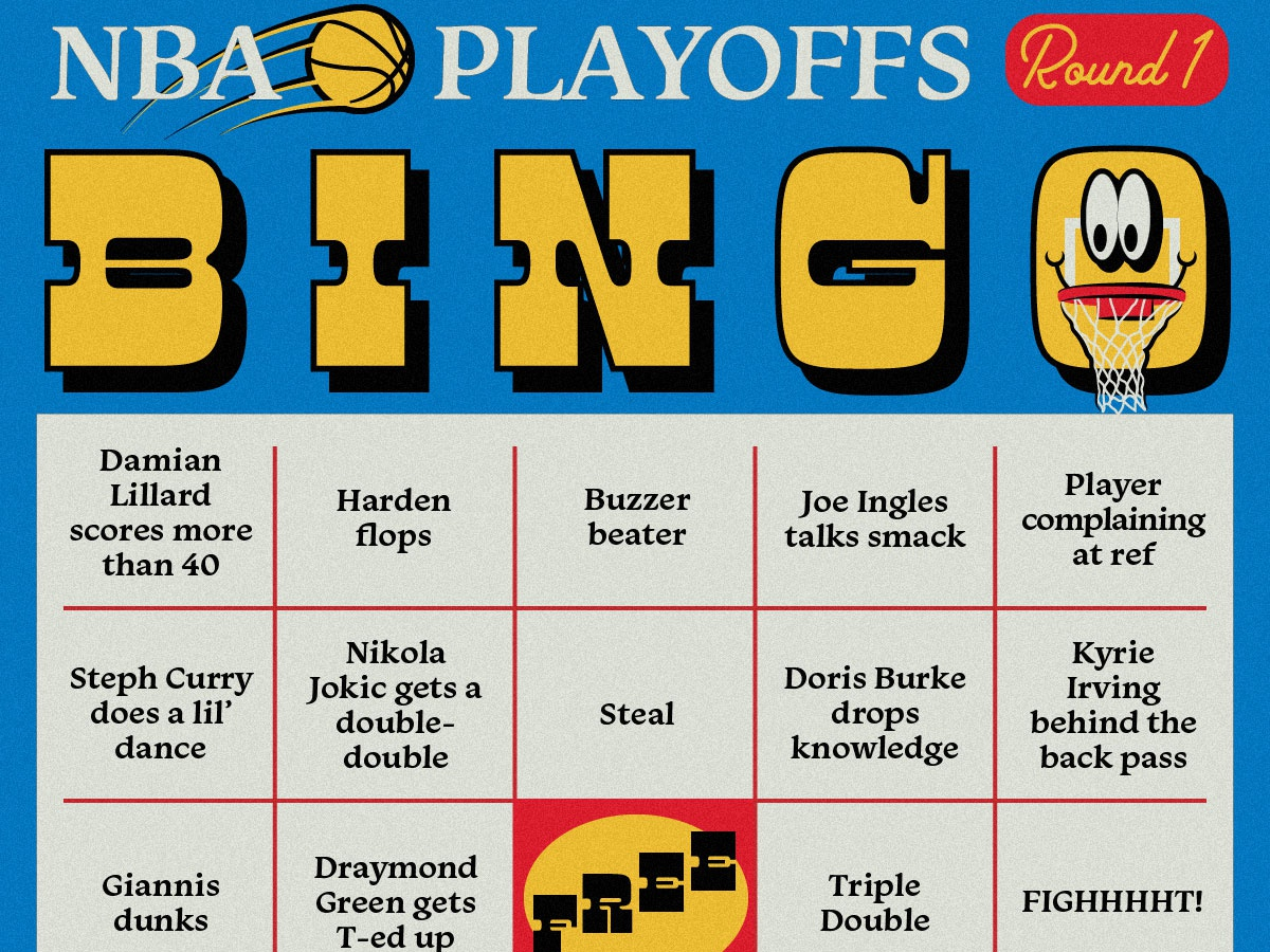 NBA Playoffs Bingo Card game sports playoffs hoop smiley face vintage retro bingo basketball nba