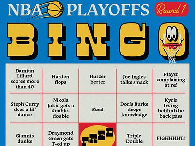 NBA Playoffs Bingo Card game sports playoffs hoop smiley face vintage retro bingo basketball nba