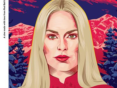 Detail of Lindsey Vonn Zine Cover redbull crosshatch cross hatching mountain skiing lindsey vonn woman illustration zine