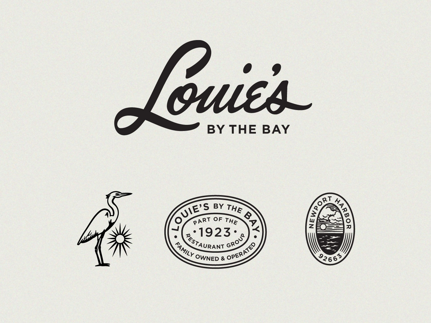 Louies By The Bay Restaurant Branding seal ocean sun stork lettering signature handwriting script retro california newport beach harbor bay restaurant