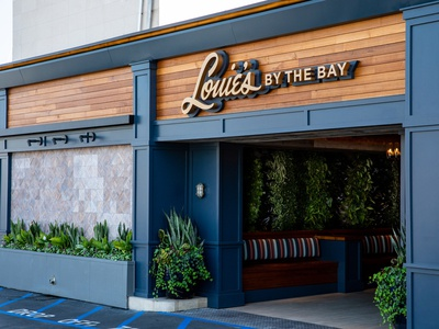 Louies Restaurant Street Facade lettering harbor bay restaurant signage