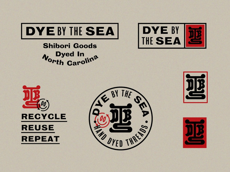 Dye by the Sea Unchosen logos recycle monogram seal japanese identity system branding logo