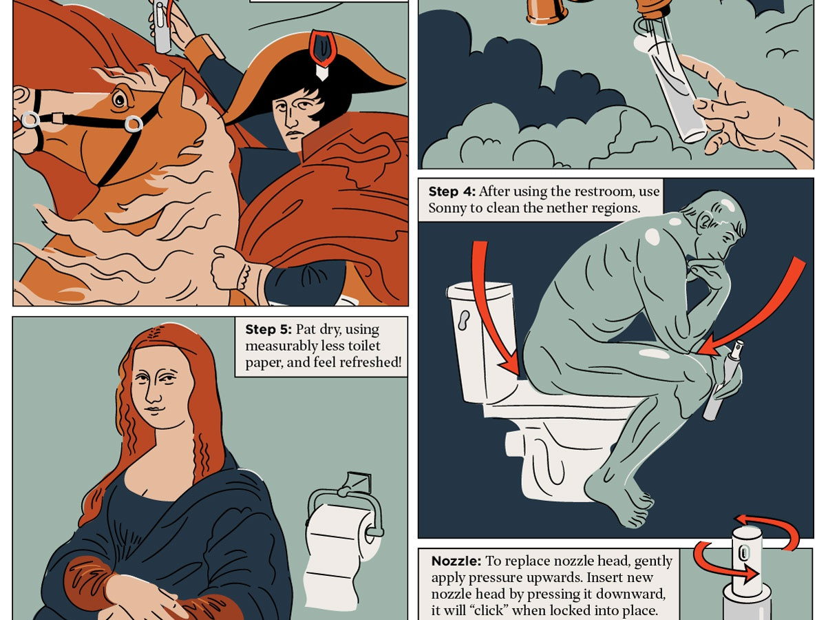 Final Sonny Instructions hoodzpah toilet simple retro illustration how to clouds hands thinker napoleon mona lisa