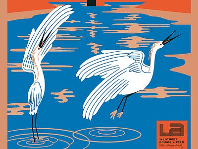 LA River Birds, detail lettering dtla illustration hoodzpah ripple water reflection river la river bird egret stork