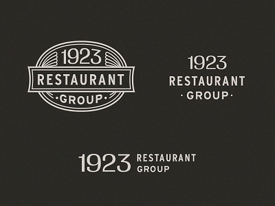 Unused 1923 Restaurant Group Logo System retro deco vintage shell lockup seal hoodzpah identity system logo system logo