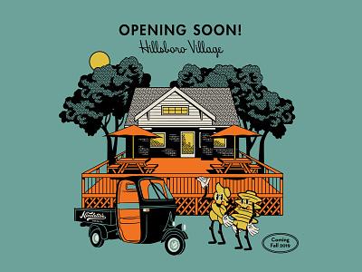 New Location Illustration for Nicolettos hoodzpah house umbrella patio noodle pasta vintage retro location nashville