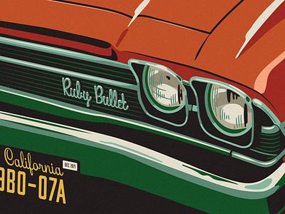 Beverly Drive Font specimen: Ruby Bullet hoodzpah retro vintage lettering chrome car font