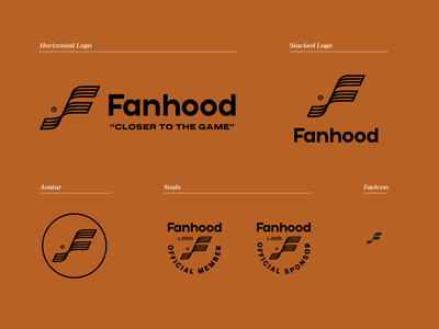 Fanhood Visual Identity hoodzpah branding sports retro vintage icon seal logo logo system