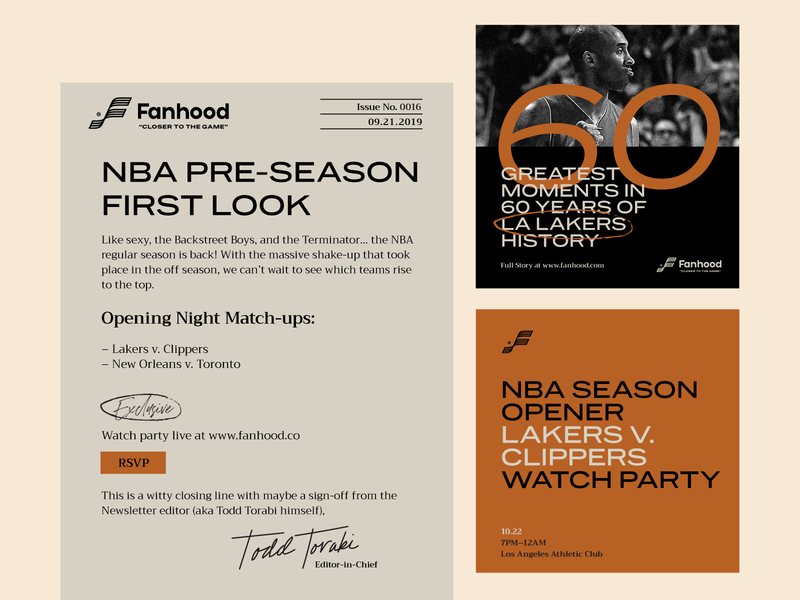 Fanhood Sample Typography Templates editorial layout editorial design social media newsletter basketball hoodzpah font pairing typography