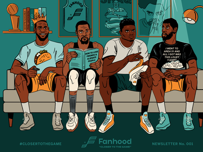 Fanhood newsletter illustration living room hoodzpah nets lakers lebron james kevin durant zion kyrie irving nba basketball illustration