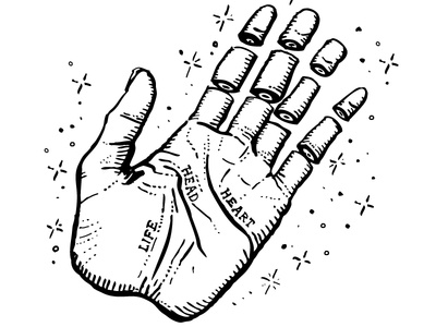 Active Skateboard Flash: Hand skateboard palm reading illustration drawing india ink occult magic hand fingers