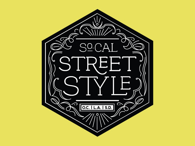 So.Cal Street Style Logo logo branding seal intricate detailed line art art nouveau style ornaments embellishments swash vintage fashion