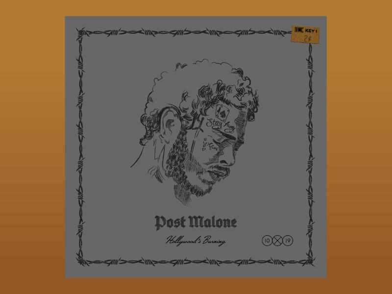 10x19 2. Post Malone - Hollywood's Bleeding illustrations profile man portrait illustration hoodzpah 10x19