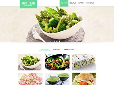 Restaurant website flat veggie food green website restaurant