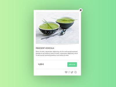 Pop-up for a restaurant website menu green veggie website restaurant pop-up