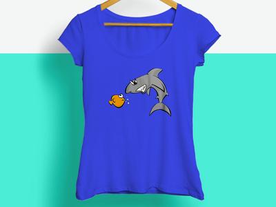Fish vs Shark illustration green purple blue t-shirt characters illustration shark fish