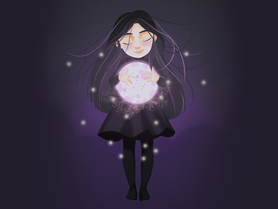 Girl with the Moon - Draw this in your style #1 drawthisinyourstyle child dark shadow light moon girl digital painting vector design character illustration