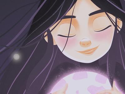 Moon moon girl painting vector design character illustration