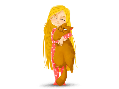 Little girl (Draw this in your style) children illustration kid cartoon illustration digital painting vector artwork vector character design illustration hug cat girl little