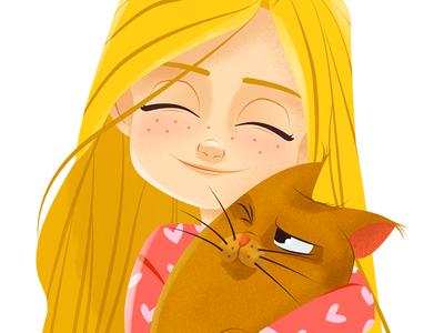 Little girl (Draw this in your style) drawthisinyourstyle hug kitten cat girl design character illustration