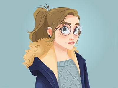 Sophie | Draw this in your style digitalpaiting digitalpaint vectorartwork vector art vector earrings parka jumper glasses winter girl sophie drawthisinyourstyle