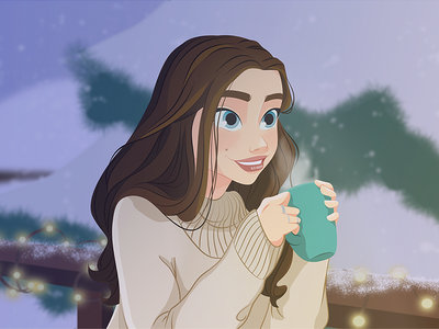 A cup of tea to warm up snow tea girl digital painting vector design character illustration
