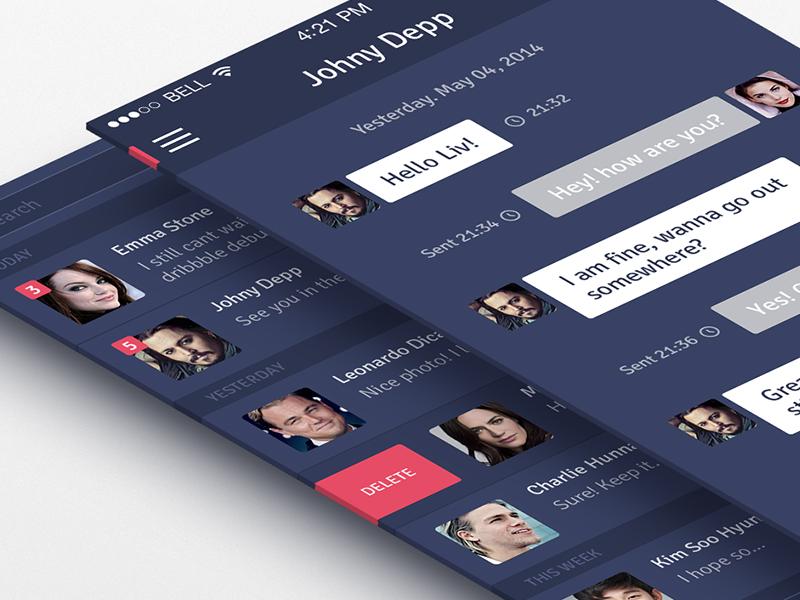 Messenger App Concept messenger app ios iphone chat notification ui ux blue side menu social flat
