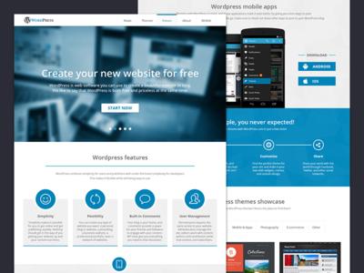 Landing Page for WordPress wordpress landing promo blue web website clean fresh fat ui design concept