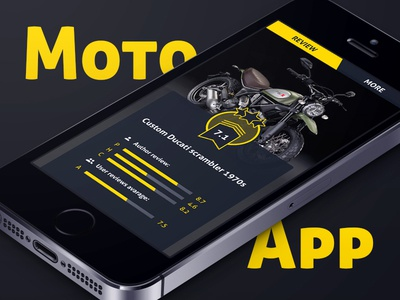 Moto review mobile app rating review statistics yellow black mobile app moto motorcycle