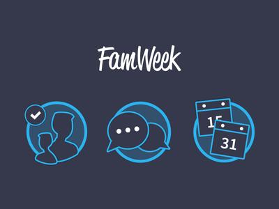 Famweek Icons icon illustration blue family week rounded drawings iconography