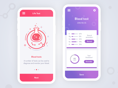 Life test - blood test app chart illustrations test mobile iphone icons icon health blood app