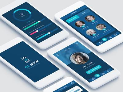 Ba Now - project tracker app tracker task profile mobile menu icon feedback chat chart blue app